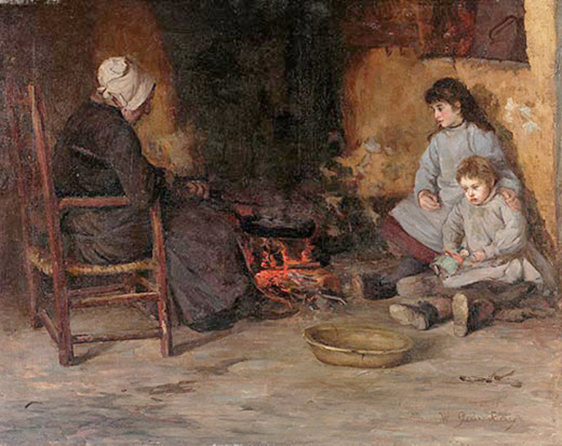 Ireland-WG-Barry-An-Old-Woman-and-Children-in-a-Cottage-Interior-2