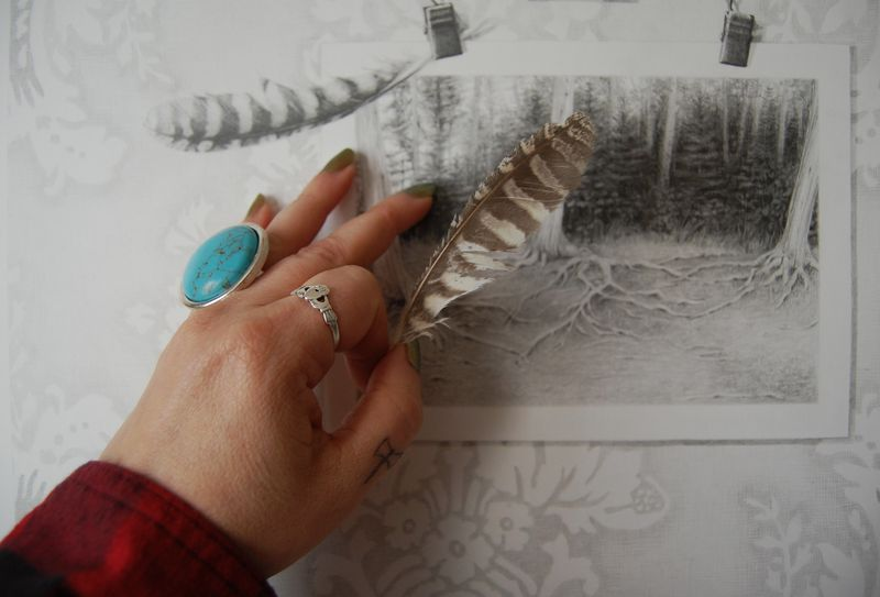 Feather and rings